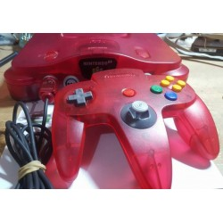 Nintendo 64 rouge translucide (clear red) + 1 manette + Jeu Mario 64