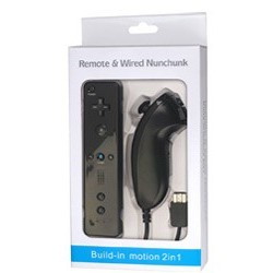 "Wiimote + nunchuck ""Build in motion plus"" NOIRE"