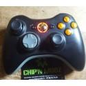 Manette Xbox 360 sans fil noire - Boutons & Leds Orange - Occasion