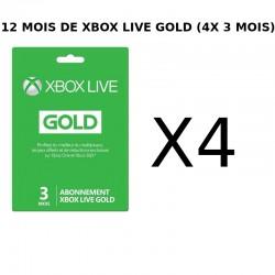 Cartes abonnement Xbox Live 12 mois (4x 3mois) - Cartes prépayées avec codes à gratter