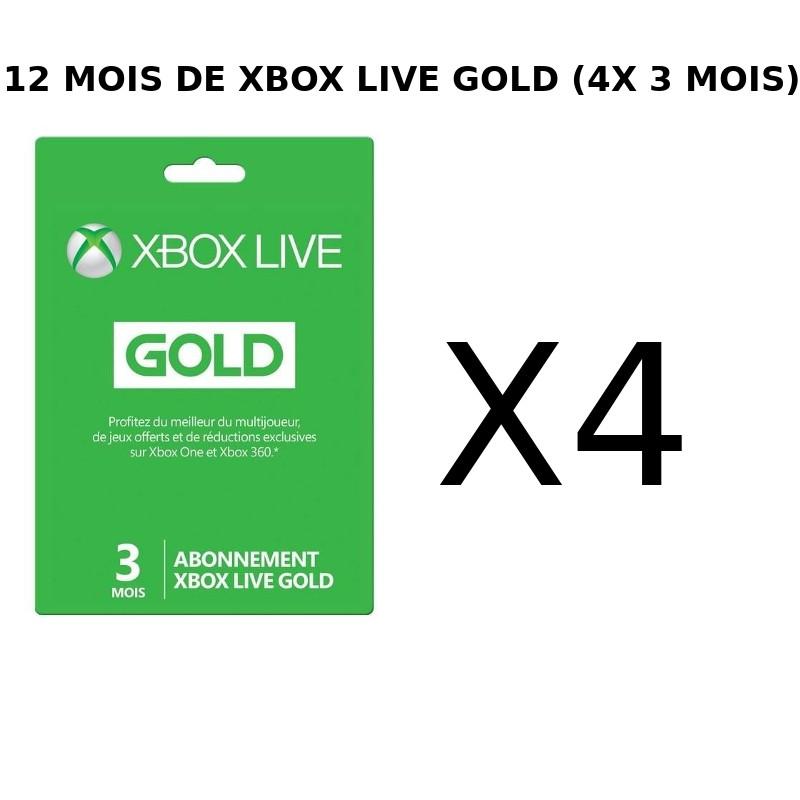 Carte Xbox Live Gold 12 Mois.Abonnement Xbox Live Gold 12 Mois A 34 99