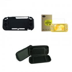 Kit 3 accessoires Switch Lite - Housse silicone, verre trempé, pochette de transport rigide