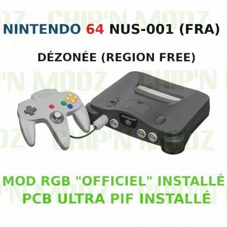 """Nintendo 64 dézonée + Mod RGB """"Officiel"""" - NUS-001 (FRA) - Complète"""